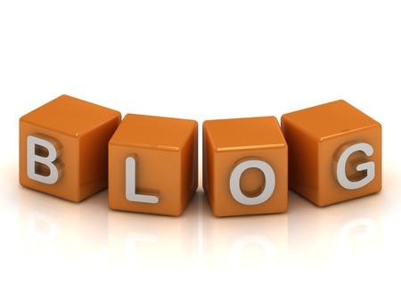 Blog cubes 3d render illustration Stock Illustration - 14624162