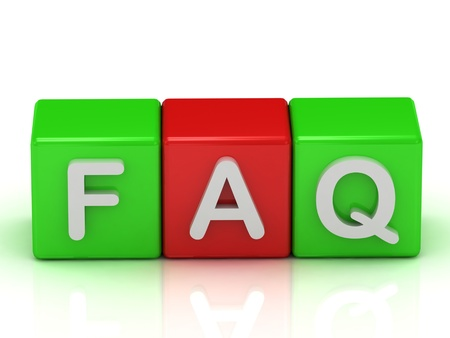 Faq two green and one red cube: 3d render illustration Stock Illustration - 14621467