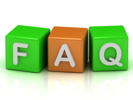 Faq cubes of color on a white background photo