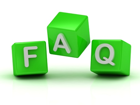 Faq three green cubes in the air: 3d render illustration