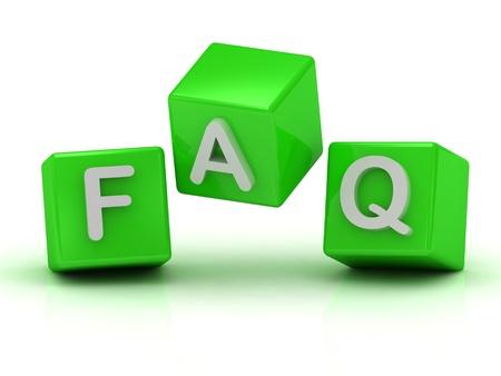 Faq tre cubi verdi in aria: illustrazione di rendering 3d