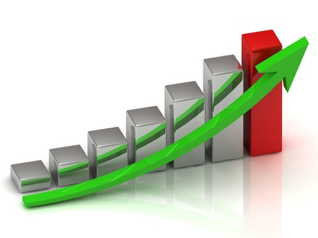 Business growth of silver and red bars and green arrow photo