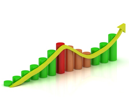 fluctuations: Business graph: fluctuations in growth and reduction of the arrow