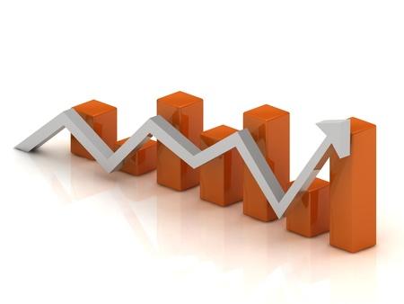 Affari grafico: le fluttuazioni nella crescita e riduzione della freccia e barre arancioni