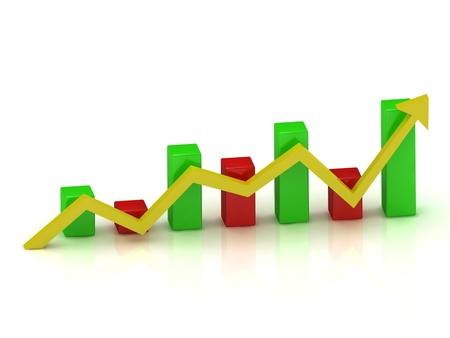 fluttuazioni economiche nel grafico delle barre di colore con una freccia Archivio Fotografico