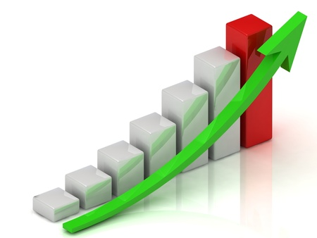 Business growth of white bars and green arrow photo