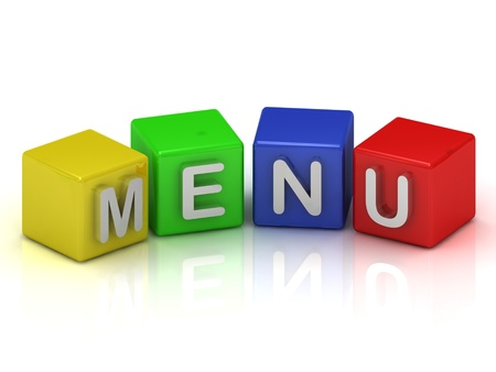 Menu cubes 3d render illustration on a white background illustration