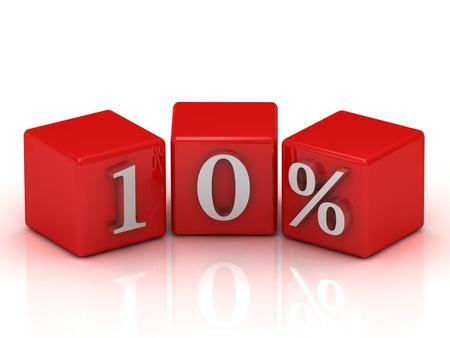 10 per cento su cubi: parola 3d su sfondo bianco isolato