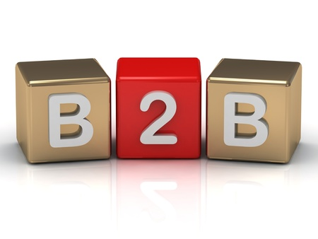 B2B Business to Business symbol on gold cubes on white background