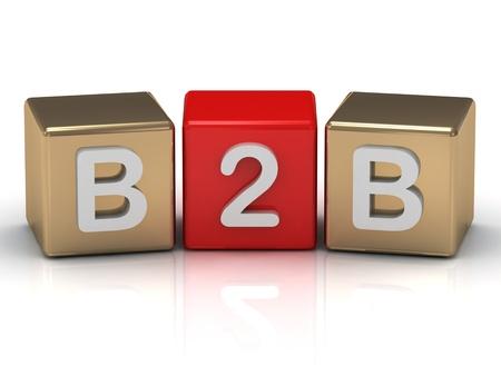 Business B2B al simbolo Business cubi d'oro su sfondo bianco Archivio Fotografico