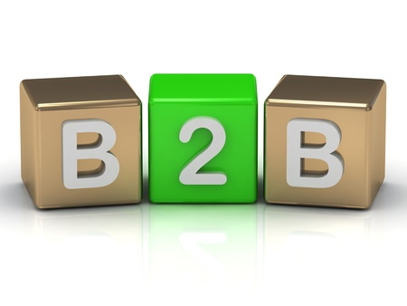 B2B Business to Business symbol on gold and green cubes on white background  photo