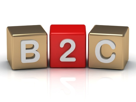 B2C Business to Consumer symbol on gold and red cubes on white background  photo