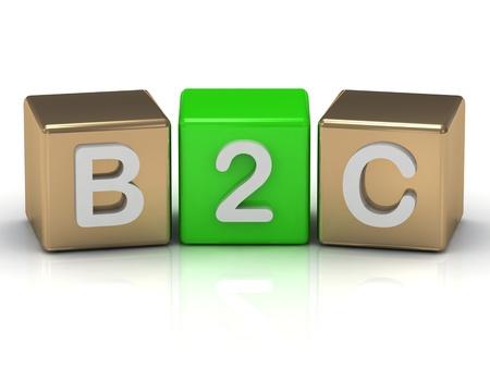 Business B2C al simbolo dei consumatori su cubi in oro e verde su sfondo bianco