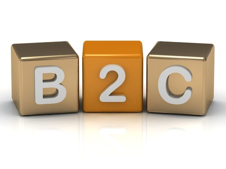 b2c: B2C Business to Consumer symbol on gold and orange cubes on white background