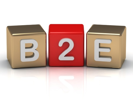 B2E Business to Employee symbol on gold and red cubes on white background  photo
