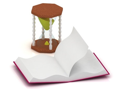 sand clock and open a blank workbook 3d illustration isolated on the white background  illustration