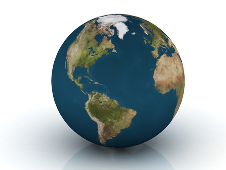 Planet Earth 3d render.   photo