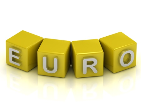 Euro text on a gold cubes on a white background photo