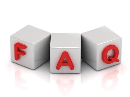 FAQ text on white cubes on white background Stock Photo - 14624156