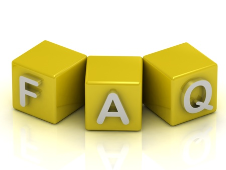 FAQ text on gold cubes on white background Stock Photo - 14621932
