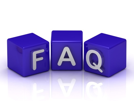 FAQ text on blue cubes on white background photo