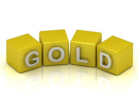 Silver text on a gold cubes on a white background Stock Photo