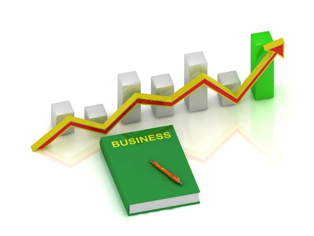 productive: book business, pen and growth chart with an yellow-red arrow on a white background Stock Photo