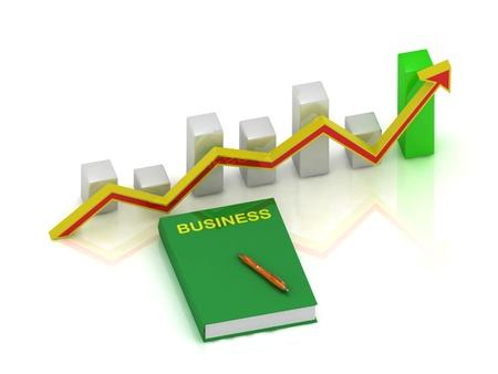 productividad: negocio de los libros, la pluma y la tabla de crecimiento con una flecha de color amarillo-rojo sobre un fondo blanco