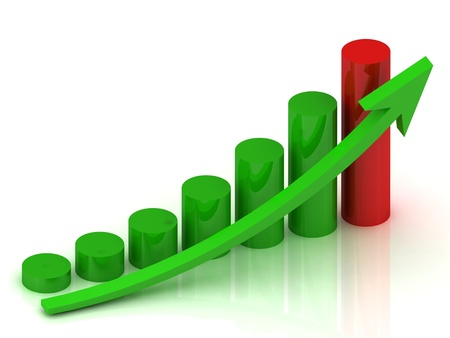 business graph with green columns, one red column and green arrow photo