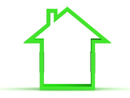 3d render of green house icon with window Isolated on white background  photo