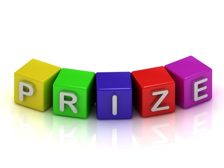 Prize text on color cubes on a white background