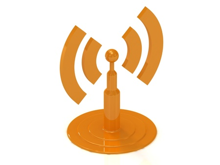 abstract antenna RSS on white background, 3D rendered Illustration Stock Illustration - 14626161