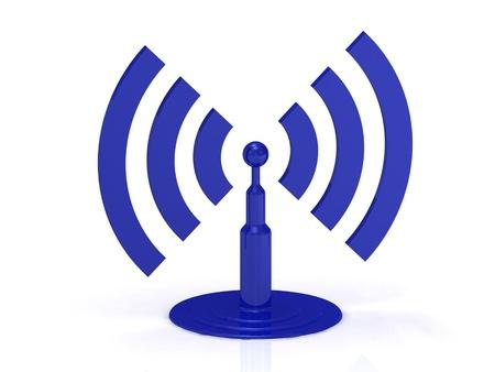 Estratto Wi-fi su sfondo bianco, immagini render 3D Archivio Fotografico