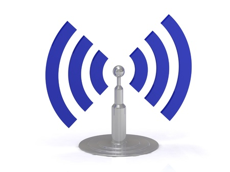 Wifi antenna icon on white background, 3D render image photo