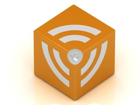 RSS symbol cube isolated on white background Stock Photo - 14622038