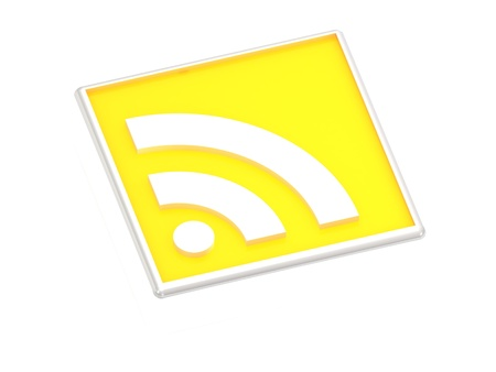 yellow RSS symbol Isolated on white, 3D rendered Illustration Stock Illustration - 14626549