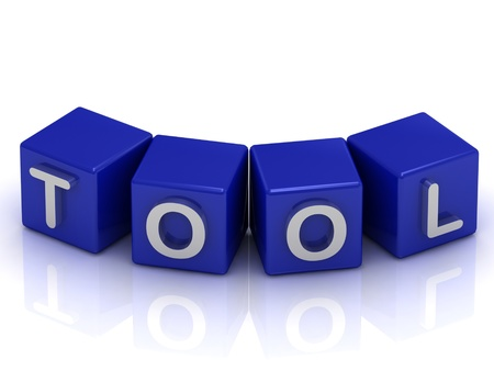 text tool: Tool text on blue cubes on a white background
