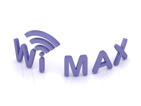 Wi MAX logo, 3D render image on isolated white background Stock Photo - 14626213
