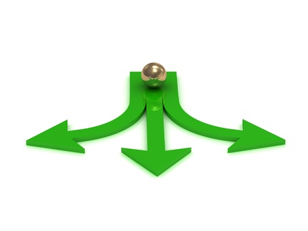 Gold ball at the crossroads of three green arrows on a white background  Stock Photo
