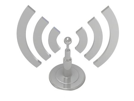 Argento le onde di radiazione dell'antenna su sfondo bianco, immagini render 3D