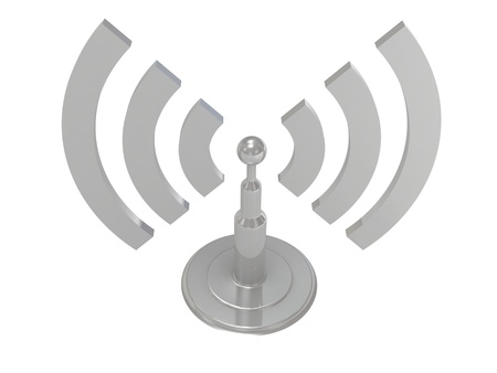 Silver antenna radiation waves on white background, 3D render image