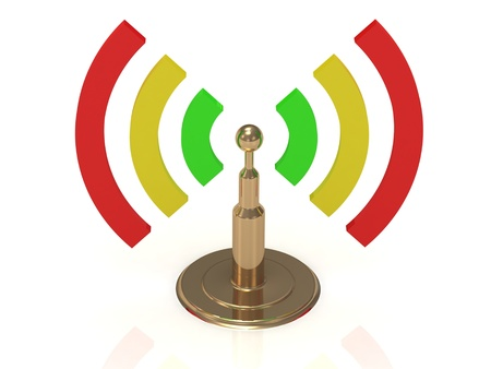 Gold antenna with radio waves of color on white background photo