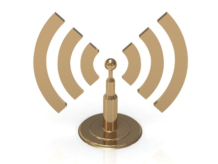 communicate concept: Gold antenna with radio waves on white background Stock Photo