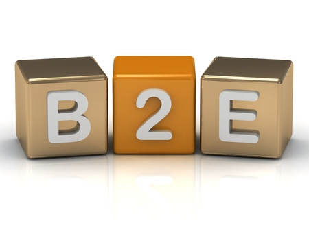 B2E Business to Employee symbol on gold and orange cubes on white background  photo