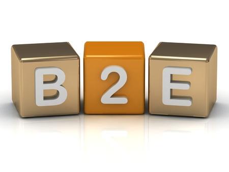 B2E Business to Employee symbol on gold and orange cubes on white background  photo
