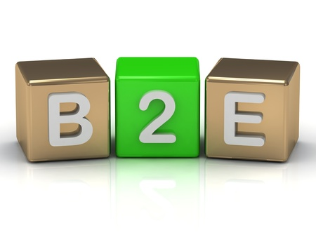 B2E Business to Employee symbol on gold and green cubes on white background  photo