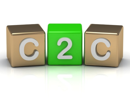 C2C Client to Client symbol on gold and green cubes on white background  Stock Photo