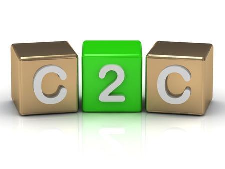 Cliente C2C al simbolo cliente su cubi di oro e verde su sfondo bianco Archivio Fotografico