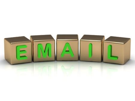 email sign on the gold cubes on white background  Stock Photo