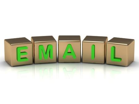 registrazione via email sui cubi d'oro su sfondo bianco Archivio Fotografico